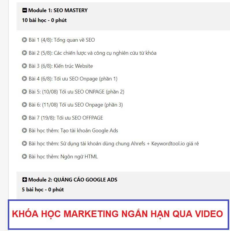 Khóa học marketing ngắn hạn học qua video