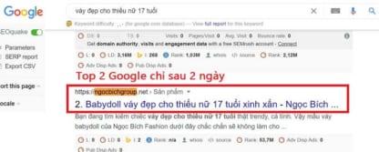 Viết bài chuẩn SEO lên top 2 Google sau 2 ngày