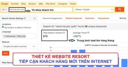Thiết kế website resort tiếp cận khách hàng mới trên internet